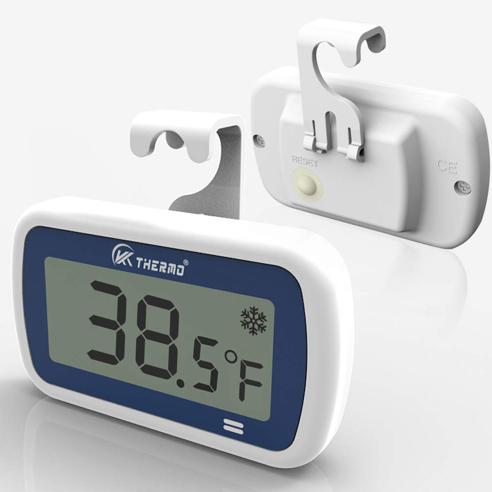 """Waterproof Freezer/Refrigerator Thermometer with 2"""" Large LCD, IP65 and Alarm – Professional Digital Accurate Mini Fridge thermometer – Best for Fridge, Refrigerator, Freezer, rv Freezer Fresh Stored"""