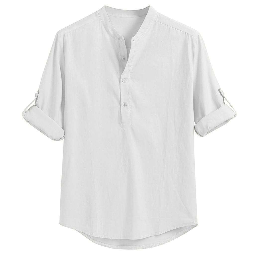 SHUBHU Mens Long Sleeve Linen Blend Tops Solid Color Turn-Down Collar Shirts