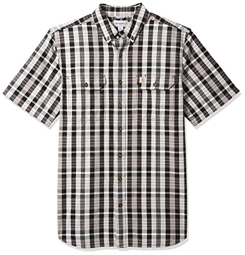 Carhartt Men's Big and Tall Fort Plaid Short Sleeve Shirt, Black, - Tall Shirts Men Big And