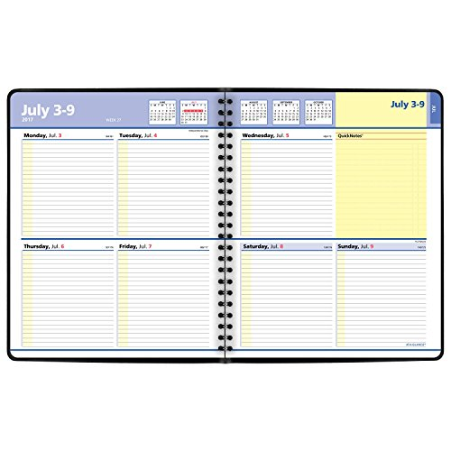 """delicate AT-A-GLANCE Academic Weekly / Monthly Planner, July 2017 - July 2018, 8"""" x 9-7/8"""", QuickNotes, Black (761105)"""