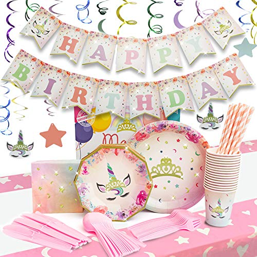 Praity Unicorn Party Supplies Pack | Disposable Paper Plates, Napkins, Cutlery, Cups, Straws & Napkins For 16 Guests | Pre-Assembled Birthday Banner, Swirly Decorations & Table Cloth for Girls | 176 pieces
