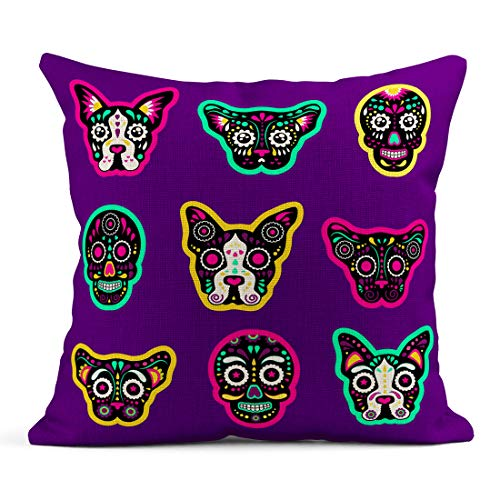 Semtomn Decor Flax Throw Pillow Covers Case Patch Badges Sugar Skull Dog and Cat Very Large 20