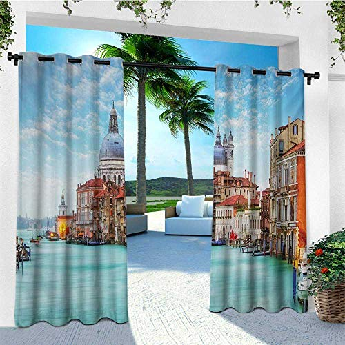 oor Curtain Panels Set of 2, Grand Canal and Basilica Santa Maria Della Salute Historical Architecture, Balcony Curtains W96 x L96 Inch Blue Turquoise Orange ()