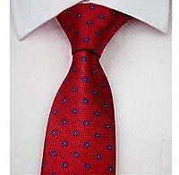 Allbebe Men's Classic Foral Dot Blue Red Jacquard Woven Silk Tie Necktie