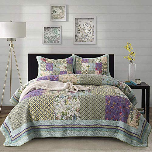 Luckey1 Luxury Quilt Sets Queen Size 3 Pieces, 1 Quilt, 2 Pillowcases, Green and Light Purple Patchwork Quilt Sets for Queen Bed(Queen, Luxury Patchwork -