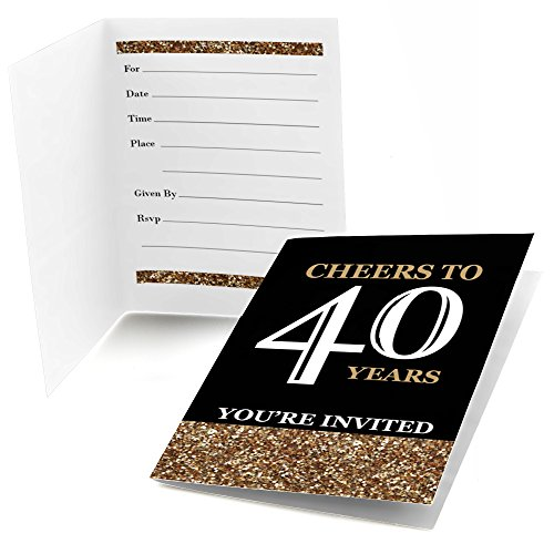 Adult 40th Birthday - Gold - Fill-In Birthday Party Invitations (8 count) (40th Birthday Party Invitations)