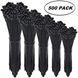 Tools & Hardware : Cable Zip Ties,500 Packs Self-Locking 4+6+8+10+12-Inch Width 0.16inch Nylon Cable Ties,Perfect for Home,Office,Garage and Workshop (Black)