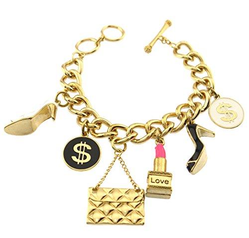 Enamel Shoe Charm Bracelet (Chunky Shopaholic Lipstick Shoe Heels Clutch Handbag Charm Toggle Chain Bracelet Gold Plated)