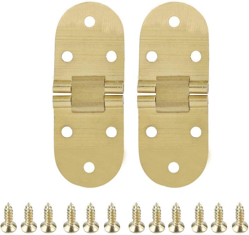 FTVOGUE 80 x 30 mm aleación de zinc metal borde redondo máquina de coser plegable muebles mesa flip bandeja bisagra con bolsa de tornillo
