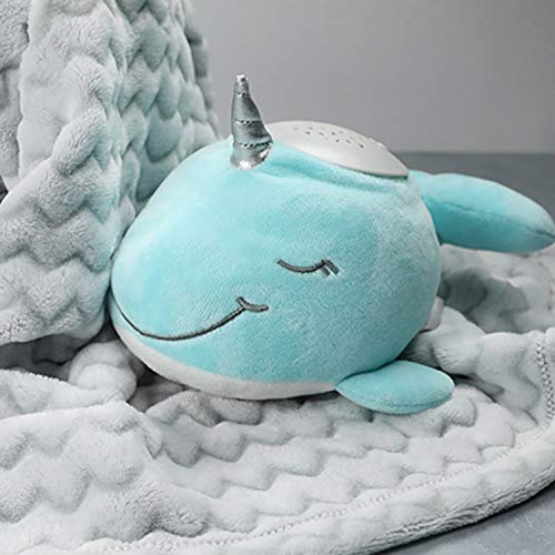 PureBaby Sound Sleepers Portable Sound Machine & Star Projector - Plush Sleep Aid for Baby and Toddlers with Soothing Night Light Display, 10 Lullabies, White Noise, and Heartbeat Sounds (Narwhal)