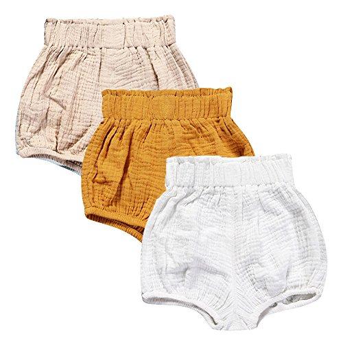 Mary ye Baby Girls Boys 3 Pack Cotton Linen Blend Cute Bloomer Shorts