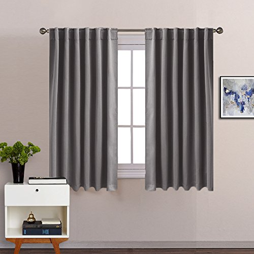 "Bedroom Blackout Curtains Window Treatment - PONY DANCE (2017 New Design) Back Tab / Rod Pocket Blackout Cutain Panels Thermal Insulated Drapes Including 6 Back Loops Per Panel,52""W x 54""L,Grey,1 (Halloween 2 2017 Full Movie)"