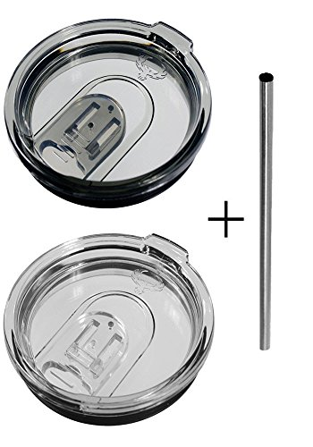 2 Yeti Replacement Lids with Spill Resistant Sliding Cover + Free Stainless Steel Straw | Compatible with 30oz Tumblers (Lid Colors:Smoke&Clear)
