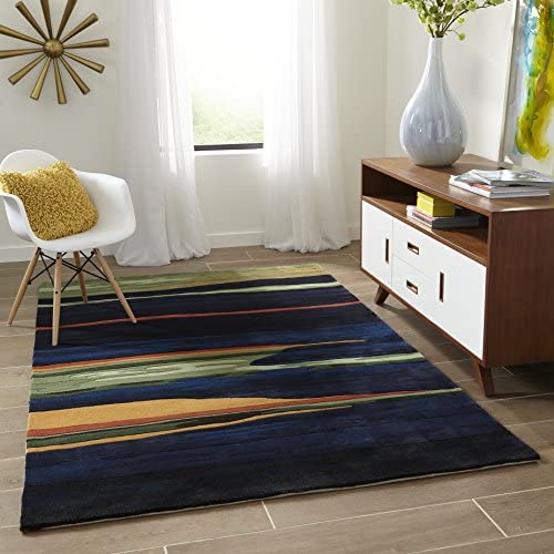 Momeni Rugs New Wave Collection, 100 Wool Hand Carved Tufted Contemporary Area Rug, 2 x 3 , Navy Blue