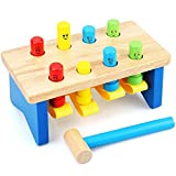 Toyssa Pounding Bench Unremoveable Peg Wooden Toy With Mallet Early Educational Games for Toddlers Kids Preschoolers