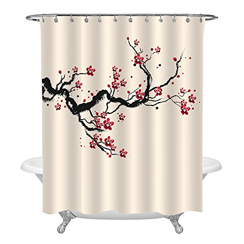 MitoVilla Japanese Cherry Blossom Bathroom Accessories for Home Decor, Classic Asian Watercolor Shower Curtain with Spring Cherry Tree Branches and Blooming Sakura Flowers, Red Black Beige, 72