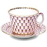 Lomonosov Porcelain Set Red Net Cup and Saucer 7 oz/210 ml