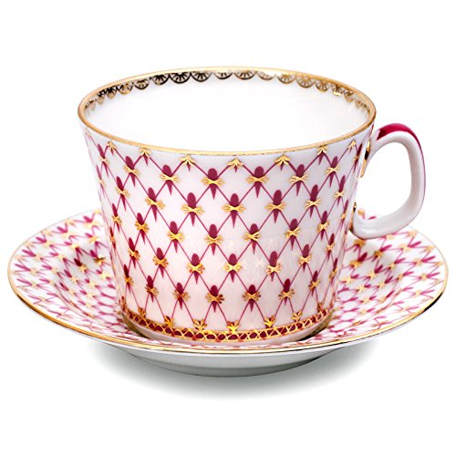 Lomonosov Porcelain Tea/Coffee Cup and Saucer Red Net 7 oz/210 ml