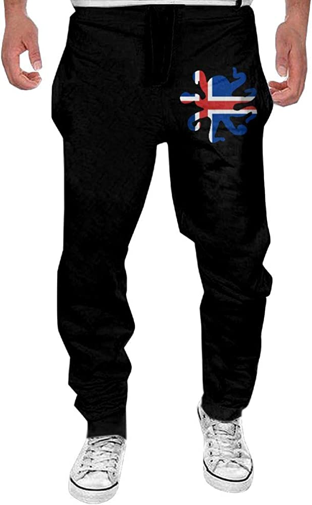 Yecx-1 Mens Octopus Shaped Iceland Flag Sport Cotton Jogger Pants,Gym Beam Trousers