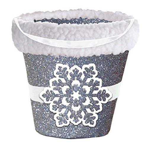 amscan Silver Snowflake Glitter Cardboard Bucket with Cello Bag | Christmas -