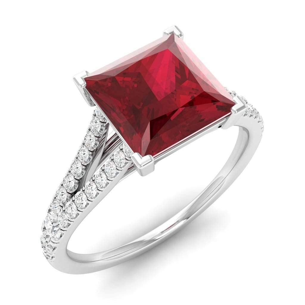 Certified 3.85 cttw Princess-Cut Lab Created Ruby and Round Natural White Sapphire Sidestone Engagement Ring in 925 Sterling Silver Ring Size 7
