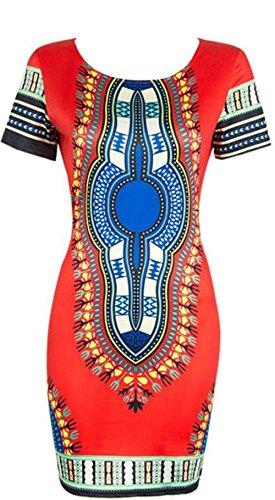 Women Dashiki Short Sleeve Dress Red - 3