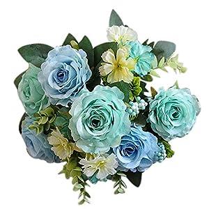 CHoppyWAVE 1Pc Artificial Rose Flower Fake Plant for Garden Party Decor DIY Bridal Bouquet - Blue 30