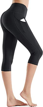 Rocorose High Waist Yoga Pants with Pocket, Yoga Capris, Tummy Control Workout Running Pants 4 Way Stretch Yoga Leggings