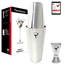 Bartender Soul Professional Boston Cocktail Shaker Set (18 & 28oz) Double Weighted, Jigger Cup and Recipes - Precision Design in 18/8 304 Real Quality Steel of 0.7mm Thickness - Dishwasher Safe