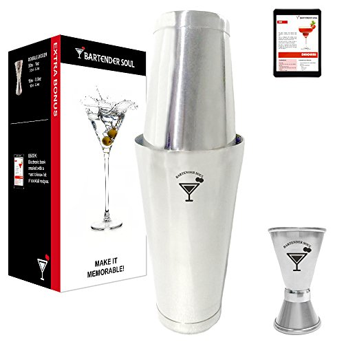 Bartender Soul Professional Boston Cocktail Shaker Set (18 & 28oz) Double Weighted, Jigger Cup and Recipes - Precision Design in 18/8 304 Real Quality Steel of 0.7mm Thickness - Dishwasher (3 French Hens Halloween Costume)