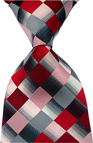 (Elfeves Men's Classic Designer Plaid Ties Checks Patchwork Necktie Red Grey)