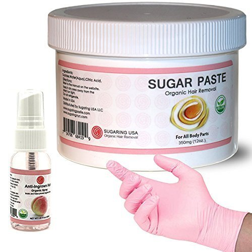 Sugaring NYC Kit - 350 Jar Sugaring Paste, Anti Ingrown Hair Solution and Set of Gloves - Perfect for Bikini Sugaring, Brazilian Sugaring & Legs