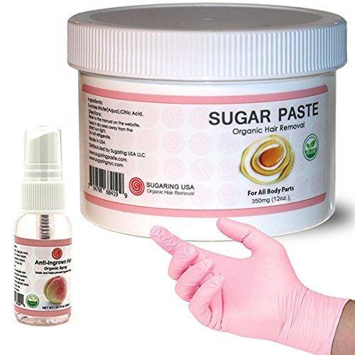 Sugaring NYC Kit - 350 Jar Sugaring Paste, Anti Ingrown Hair Solution and Set of Gloves - Perfect for Bikini Sugaring, Brazilian Sugaring & Legs (Best Cheap Brazilian Wax Nyc)
