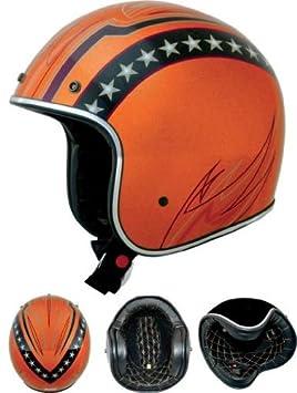 Casco Jet Moto Orange Starlines Biltwell Italia Custom Tipo Homologado 2XL naranja