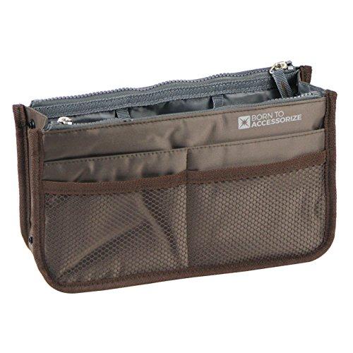 Premium Purse Organizer - Perfect Handbag Organizer Insert to Keep Your Personal Essentials Organized & Accessible - 13 Pockets - Study - Durable - Stylish (M-Brown)