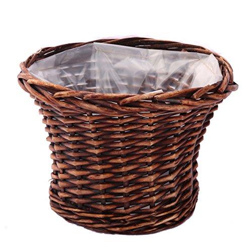 Kingwillow, Hanging basket,Wicker woven hanging flower pot vase basket, home decoration plant basket, Art & Craft (Small, Round Brown) (Wicker Plant)
