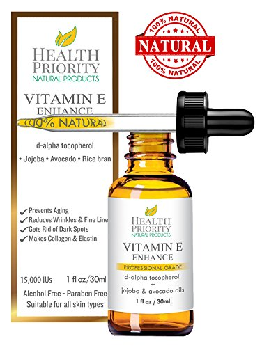 Health Priority Natural Products Organic Vitamin E Oil for Your Face and Skin, Unscented 15000 IU Heals Stretch Marks & Surgical Scars (Unscented Natural Face)