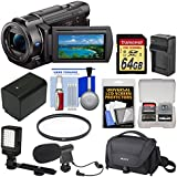 Sony Handycam FDR-AX33 Wi-Fi 4K Ultra HD Video Camera Camcorder 64GB Card + Case + LED Light + Microphone + Battery & Charger + Filter Kit