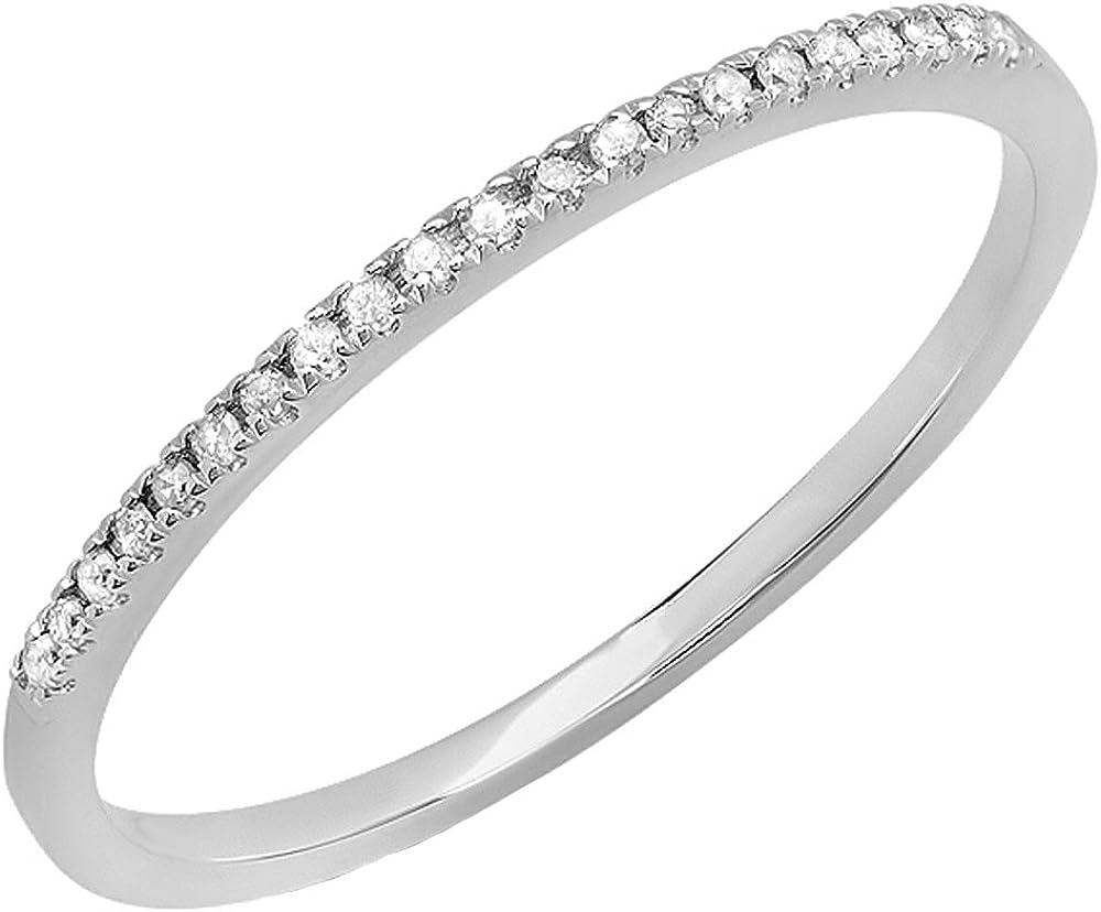 Dazzlingrock Collection AGS CERTIFIED 0.08 Carat (ctw) 10K Round White Diamond Ladies Anniversary Wedding Band, White Gold