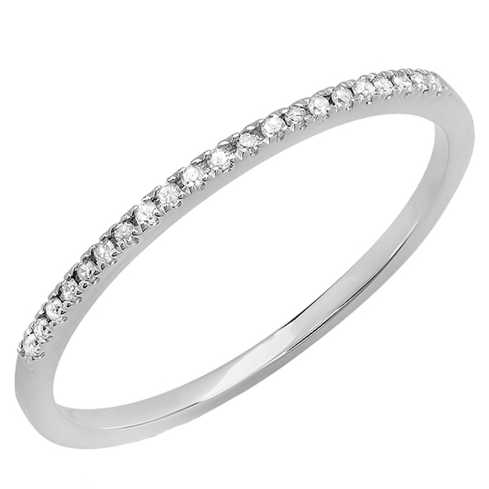 18k Gold Round White Diamond Dainty Anniversary Wedding Band Stackable Ring Dazzlingrock Collection 0.08 Carat ctw