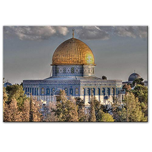 Masjid Al Aqsa and Dome of The Rock Wall Art Posters Realist Mosque Canvas Art Prints Muslim Pictures for Living Room Wall Decor 70x100cm (no Frame)