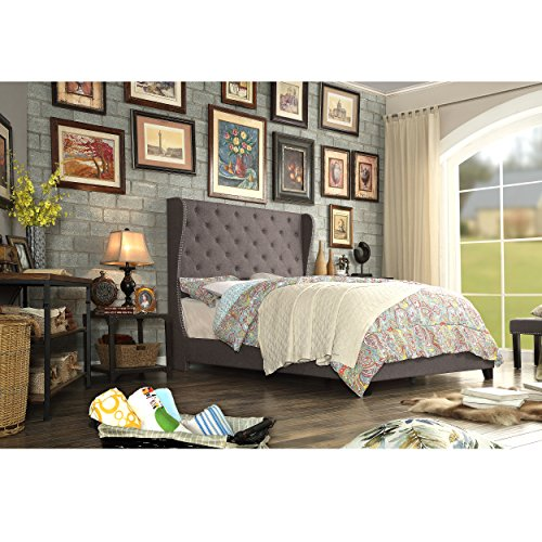 Rosevera Tufted Olympia Upholstered Bed King Mocha
