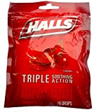 Halls Cherry Triple Soothing Action Advance Formula Cough Drops for Fast Relief.Freshlock Bag