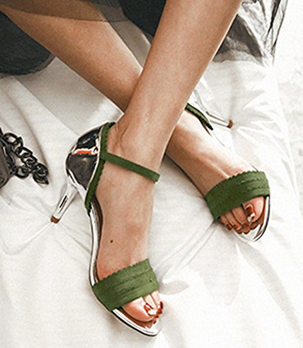 Sandal Kitten Army Ankle Aisun Heels Strap Trendy Shoes Green Women's xZnBIY