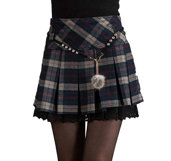 cdde3f93b5 Coolred-Women A-line Fall Winter Plus Size Woolen Fashion Plaid Skater  Skirt Blue
