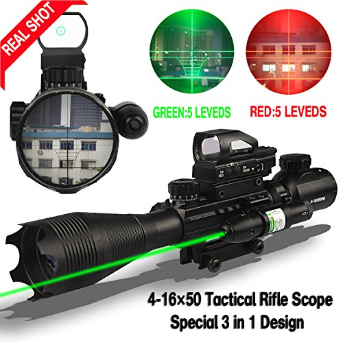 AR15 Rifle Scope (3 IN 1) 4-16x50EG Dual Illuminated with Holographic 4 Reticle Red and Green Dot Sight for 22&11mm Weaver/Picatinny Rail Mount (12 Month Warranty)