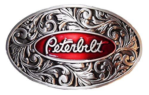 Peterbilt Logo Red Enamel/Antique Pewter Metal Finish Belt Buckle