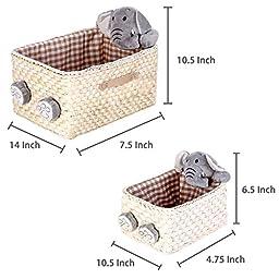 Plush Elephant Design Nesting Maize Nursery Baskets, Woven Unisex Baby Toy Storage Bins, Set of 2