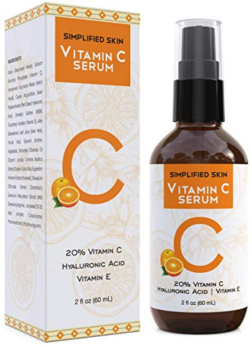 Vitamin C Serum 20% for Face & Eyes (2 oz). Anti Aging, Wrinkles, Acne & Dark Spot Remover Treatment with Hyaluronic Acid & Vit E. Best Antioxidant Facial Serum by Simplified Skin