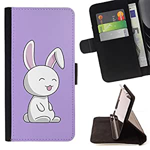 DEVIL CASE - FOR Apple Iphone 5 / 5S - Cute Puprle Bunny Rabbit - Style PU Leather Case Wallet Flip Stand Flap Closure Cover